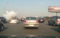 Bomba na kolech – podomácku přestavěna Samara na LPG exploduje na dálnici
