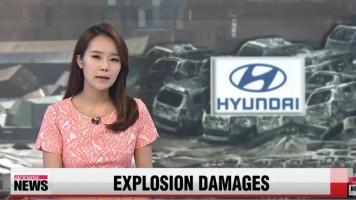 Při explozi shořely tisíce aut Hyundai