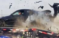 Exploze pneumatiky Mustangu na motorové brzdě